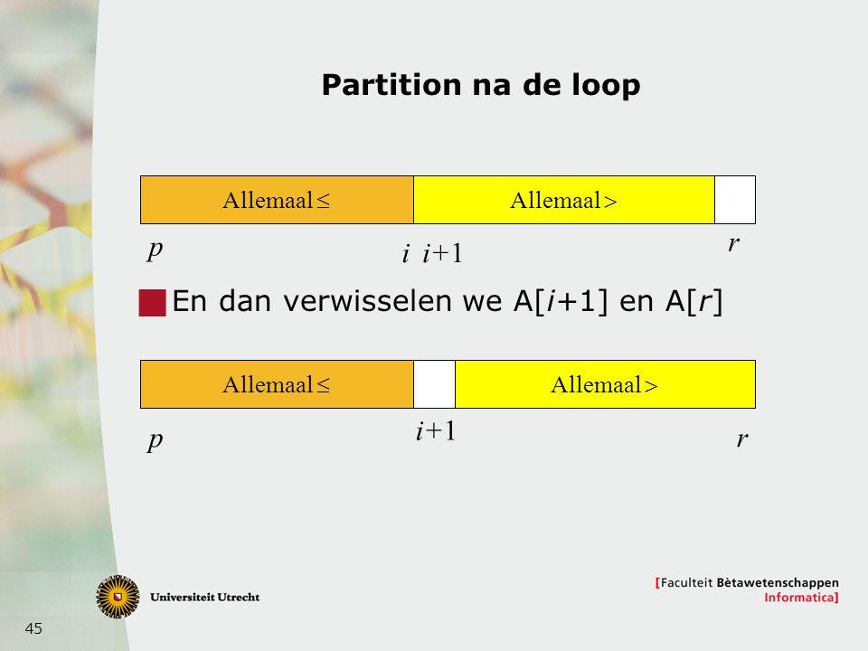 En dan verwisselen we A[i+1] en A[r]